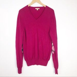 Burberry Pink Cashmere Sweater with Elbow Patches